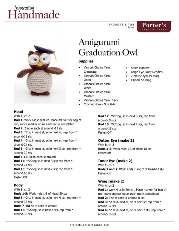 Text Amigurumi Graduation Owl