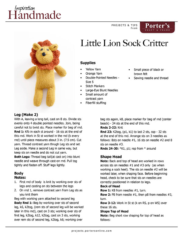 Little Lion Sock Critter